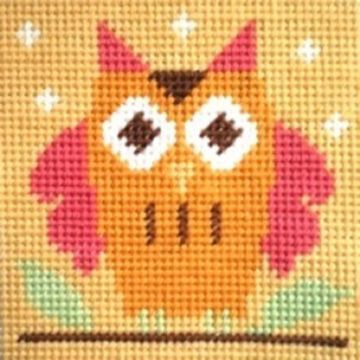 """OWL"". Kids/Beginners Needlepoint Kit."